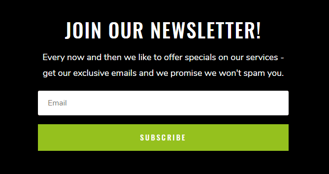 Call to action for newsletter on web design
